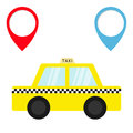 Taxi car cab icon. Placemark Map pointer navigation marker set. Cartoon transportation collection. Yellow taxicab. Checker line, l