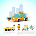 Taxi car in the city. public taxi service application concept -