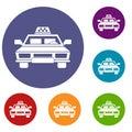 Taxi car icons set