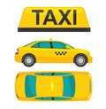 Taxi car. View top and side. Flat styled  illustration. Isolated on white background. Royalty Free Stock Photo