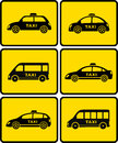 Taxi cars set on yellow buttons automotive of isolated Stock Images