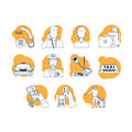 Taxi cartoon line icons