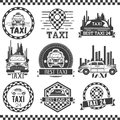 Taxi company labels in vintage style. Design elements, icons, logo, emblems. Cab transportation service. Royalty Free Stock Photo
