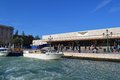 Taxi course boat front train station venice italy Stock Photo