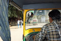 Taxi driver in varanasi india inside cab with on the streets of the holy city Royalty Free Stock Photos