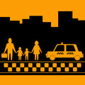 Taxi for family on urban background Royalty Free Stock Photo