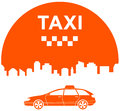 Taxi icon with city and cab symbol Royalty Free Stock Images