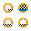 Taxi icon designs with checkered ribbon and golden button Stock Images