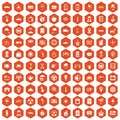 100 taxi icons hexagon orange