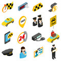 Taxi icons set, isometric 3d style Royalty Free Stock Photo