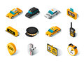 Taxi isometric icons set Royalty Free Stock Photo