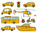Taxi line icons set