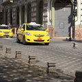 Taxi on the mariscal sucre avenue cuenca ecuador february february in city center of cuenca ecuador Stock Photography