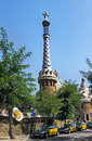 Taxi and park guell in barcelona spain august ceramic mosaic on august spain is the famous architectural town art designed by Royalty Free Stock Image