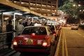 Taxi rank in hong kong city at night Royalty Free Stock Photo
