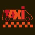Taxi with red letters on a dark background Royalty Free Stock Photography