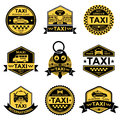 Taxi Service Black Yellow Emblems Royalty Free Stock Photo