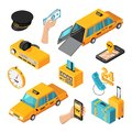 Taxi Service Isometric Isolated Icons Royalty Free Stock Photo