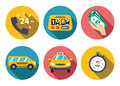 Taxi service set vector illustration flat concept Royalty Free Stock Images