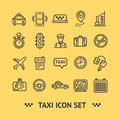 Taxi Services Icon Thin Line Set. Vector Royalty Free Stock Photo