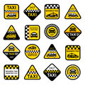 Taxi set labels vector illustration eps Royalty Free Stock Photos