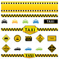 Taxi set vector of icons signs and labels eps illustration Stock Photography