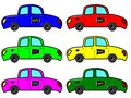 Taxi in six colours with sign Stock Photography