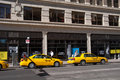 Taxi stand calgary in downtown alberta with office buildings in the background Royalty Free Stock Image
