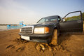 Taxi stucked in the mud blocked on way to djenné before crossing niger delta Stock Photo