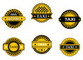 Taxi symbols and signs set for transportation service design Stock Images