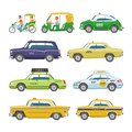 Taxi vector taxicab transport and yellow car transportation illustration set of city cab auto on taxi-rank and taxi Royalty Free Stock Photo