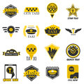Taxi web icons set yellow checkered flag, star, wings Royalty Free Stock Photo