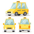 Taxi yellow car flat style vector illustration modern design on commercial transport retro and contemporary modern eco friendly Royalty Free Stock Photos