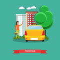 Taxicab concept vector illustration, flat design Royalty Free Stock Photo