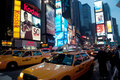 Taxis in Times Square at Night, New York City Royalty Free Stock Photography