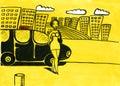 Taxista de la mujer Fotografía de archivo