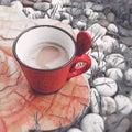Taza de café roja Foto de archivo libre de regalías