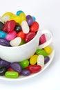 Taza de habas de jalea Fotografía de archivo libre de regalías