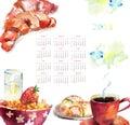 Tazza di caffè con i panini, calendario per 2013 Fotografia Stock
