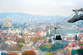 Tbilisi cable car above in the day georgia Royalty Free Stock Photos