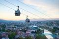 Tbilisi funicular georgia over the city at sunset Stock Image