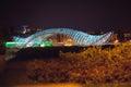 Tbilisi georgia aprilr the peace bridge april in pedestrian over mtkvari river in at night Stock Images
