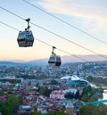 Tbilisi modern funicular georgia over the city at dusk Royalty Free Stock Photo