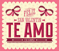 Te amo feliz san valentin i love you happy valentines day spanish text vector card design Royalty Free Stock Photo