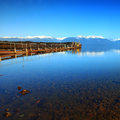 Te anau downs new zealand old jetty at Stock Photo