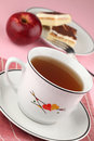 Tea and apple cake Royalty Free Stock Images