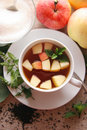Tea with apples and mint. Stock Photo