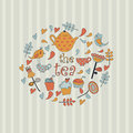 Tea background with cute kettle cups birds hearts flowers and cupcakes in cartoon style Stock Photo
