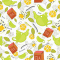 Tea background vector seamless pattern Stock Photography