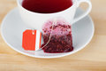 Tea bag and cup on wooden table closeup of Royalty Free Stock Photo